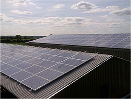 Image of solar panels on a barn roof